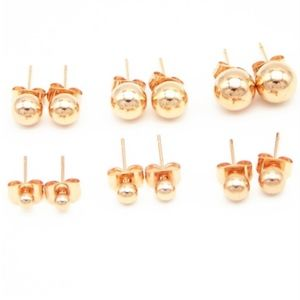 Jewelry - Dainty Rose Gold 5MM Round Ball Stud Earrings